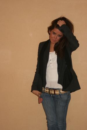 beige Fornarina belt - Zara jeans - black Zara jacket