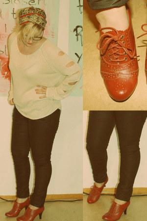 red brogue Skopunkten heels - knitted Cheap Monday sweater - wax coated hm pants
