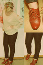 Knitted-cheap-monday-sweater-wax-coated-hm-pants-red-brogue-skopunkten-heels