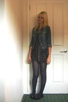 Ebay jacket - Topshop dress - unkown leggings - Salvatore Ferragamo shoes