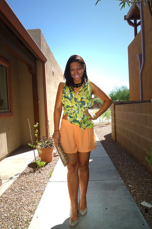 chartreuse H&M dress - light orange H&M shorts