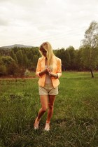 orange Bershka blazer - cream Bershka shorts - orange Converse sneakers