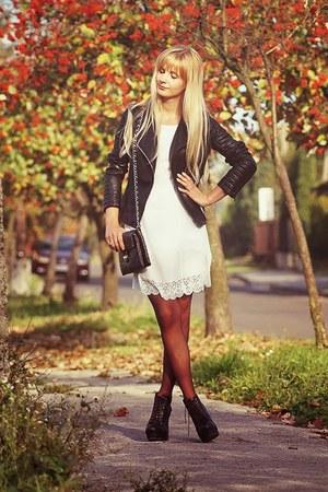 black Zara jacket - white Sheinside dress