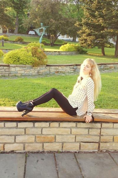 black deezee boots - black New Yorker leggings - ivory Sheinside shirt
