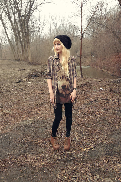 army green Bershka blouse - burnt orange deezee boots