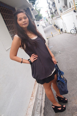 Urban Outfitters intimate - blouse - H&M skirt - black Jeffrey Campbell shorts -
