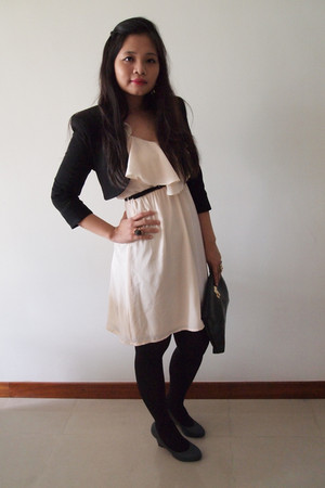 light pink H&M dress - black Zara blazer - black Urban Outfitters - charcoal gra