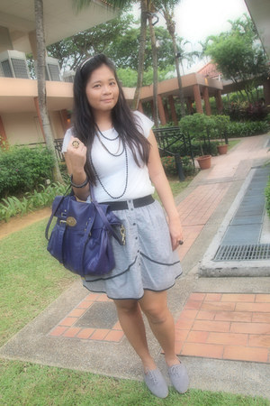 heather gray skirt - purple Mulberry bag - heather gray shoes