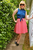 navy denim tie-up Topshop shirt - H&M sunglasses - red gingham handmade skirt