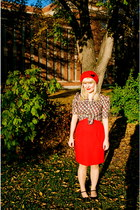 skirt - red beret Tara Starlet hat - camper heels - Hey Day vintage repro blouse