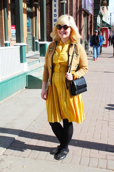 mustard silk vintage dress - black vintage purse - neutral vintage cardigan