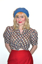 3c10d9ca427 art deco print hey day blouse - wool beret American Apparel hat - mothers  skirt
