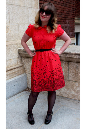 red apple print Karen Walker dress - black leather t-bar To and Co heels