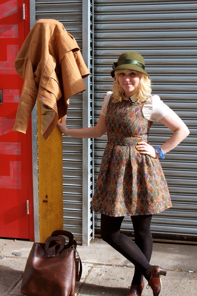 light orange tapestry Dahlia dress - olive green wool cloche vintage hat