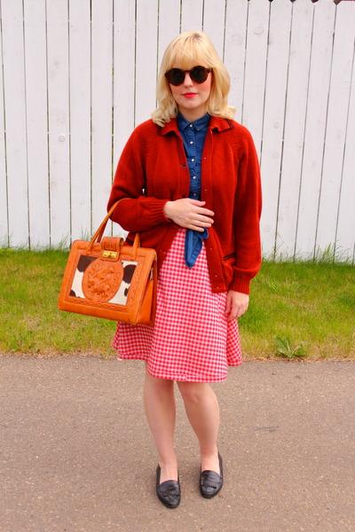 light orange thrifted vintage cardigan - navy denim Topshop shirt