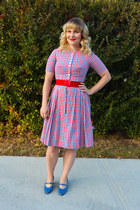 red plaid vintage dress - blue vintage heels