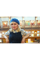 sky blue wool beret American Apparel hat - navy nadinoo dress