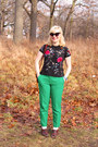 Green-wool-jcrew-pants-red-floral-top-shop-blouse-camel-vintage-clarks-heels