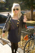 navy Dahlia dress - black pop england jacket