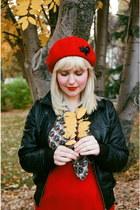 skirt - ruby red wool beret Tara Starlet hat