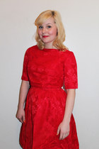 red silk vintage dress