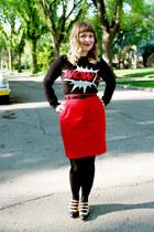 dark gray acrylic Simons top - red vintage skirt
