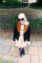 fur trimmed vintage jacket - Dahlia dress - vintage sunglasses