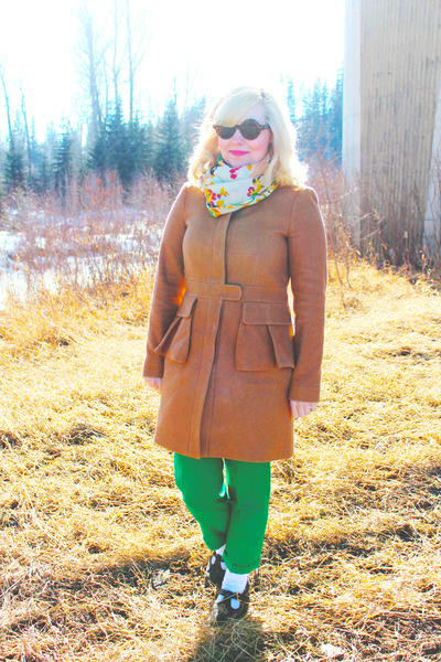 nude peplum Jcrew coat - bubble gum scarf - green wool Jcrew pants