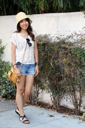 straw Target hat - Target bag - denim Target shorts - lace Forever21 top