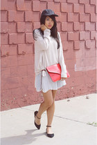 red Gifted clutch purse - white vintage dress dress - black sosie flats