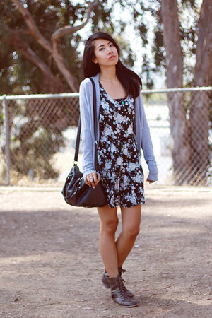 brown Diba Diba boots - black open back brandy melville dress - Target bag