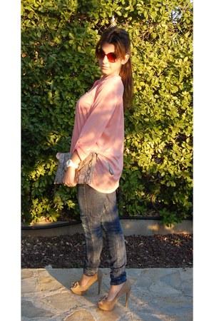 Bershka heels - Bershka jeans - BLANCO bag - BLANCO blouse