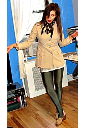 beige D Squared blazer - green American Apparel leggings - white Urban Outfitter