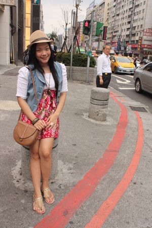random brand dress - Bayo vest - Singapore random brand shoes - thrifted purse -