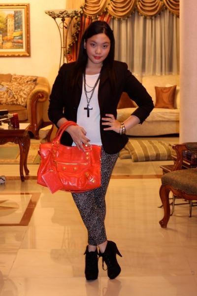 new look boots - printed Bazaar leggings - black Dorothy Perkins blazer - balenc