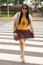 brown Mango bag - salmon Zara skirt - cream Forever 21 top - bronze random brand
