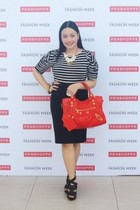 red balenciaga bag - black Forever 21 skirt - black Pill shoes - Charlotte Russe