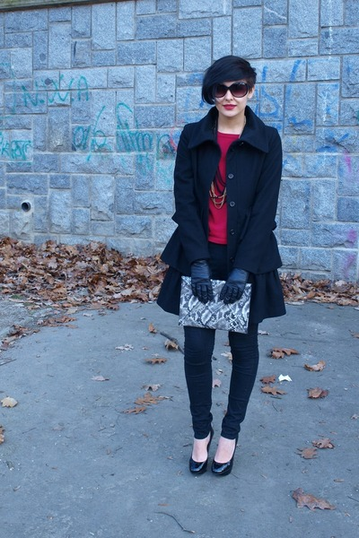 snakeprint H&M purse - unknown brand coat - Orsay cardigan - H&M necklace