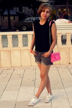 hot pink odji bag - white Converse shoes - charcoal gray Gate shorts