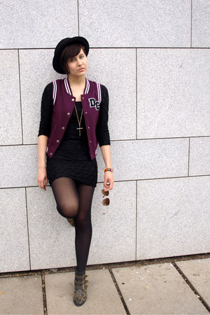black Ebay shoes - black H&amp;M dress - black H&amp;M hat - maroon Gate vest