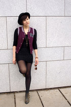 black Ebay shoes - black H&M dress - black H&M hat - maroon Gate vest
