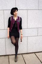 black Ebay shoes - black H&M dress - black H&M hat - maroon Gate vest