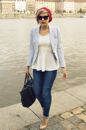 H&M jeans - unknown brand hat - H&M blazer - H&M sunglasses - Boohoo top