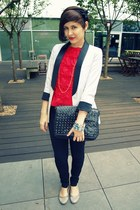 cream H&M blazer - black H&M jeans - red unknown brand top - black Gate flats
