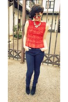 red self-made top - navy H&M pants - gold unknown brand necklace