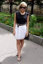 black Gate bag - dark brown unknown brand belt - white DIY skirt