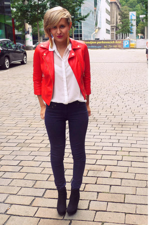 red New Yorker jacket - white GINA TRICOT blouse - navy H&M pants