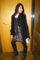 jacket - Bazaar dress - Promod top - boots