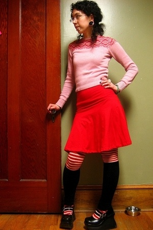 Coop sweater - American Apparel skirt - Demonia shoes