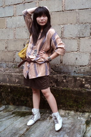brown my mom top - brown unbranded skirt - beige boots - yellow balenciaga bag -